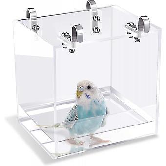 قفص حمام الطيور لا تسرب حوض استحمام الطيور مع شنقا السنانير القفص ملحق لطيور صغيرة الببغاوات Lovebirds الكناري دش المحمولة