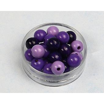 12mm lilla Mix træ Threading perler voksne håndværk - 40pk
