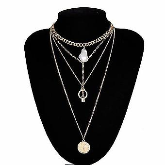 Multi Layer Lover Lock Pendant, Choker Necklace, Padlock Heart Chain Collier(Gold Color5)