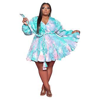 Duży rozmiar z nadrukowanym dekoltem w serek seksowna tkana duża spódnica huśtawkowa z sukienką z paskiem