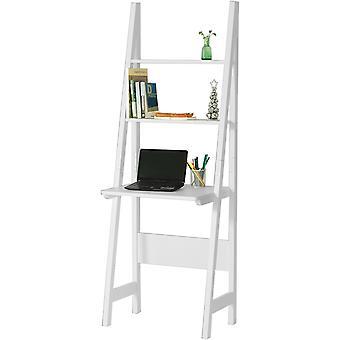 SoBuy White Modern Ladder Storage Display Regal mit Schreibtisch und 2 Regale, FRG60-W