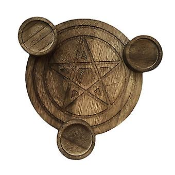 Wooden Pentagram Candle Holder, Astrology Wicca Ceremony Accessory