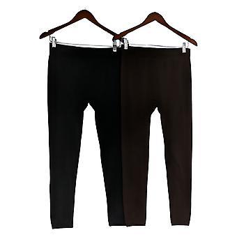 Rhonda Shear Dames Leggings XL/1X Reg/Plus 2-pack Black 679984