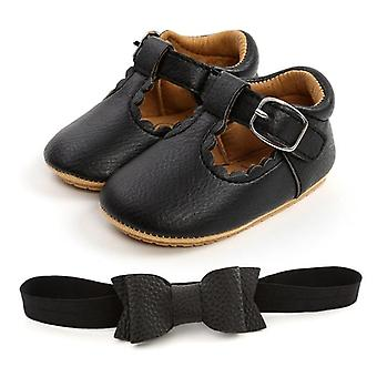 Baby Leather First Walkers Set, Bow-knot Soft Sole Shoes