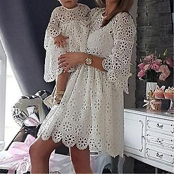 Family Matching Mother Daughter Dresses Women Floral Lace Party Clothes