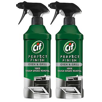 Cif Perfect Finish Oven & Grill 100% Grease Removal Spray, 2 Packs of 435ml