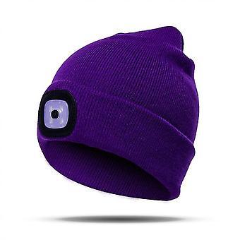 Mütze Mit Licht Unisex Usb Wiederaufladbare Mütze Mit Licht Stirnlampe Mütze (Lila)