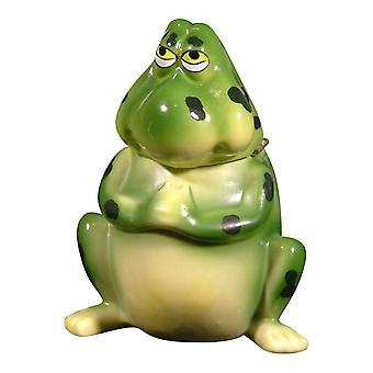 可爱的绿色青蛙青蛙磁性铰链饰品盒