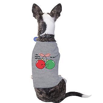 Me gusta colgar contigo Linda Navidad camiseta del animal doméstico perro mamá regalos