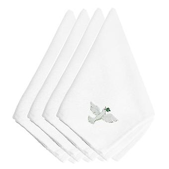 Carolines Treasures  EMBT2979NPKE Christmas Dove Embroidered Napkins Set of 4
