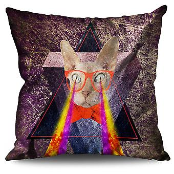 Laser Eyes Geek Funny Linen Cushion 30cm x 30cm | Wellcoda
