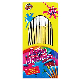 Artbox 12 Artists Natural Bristle Brushes