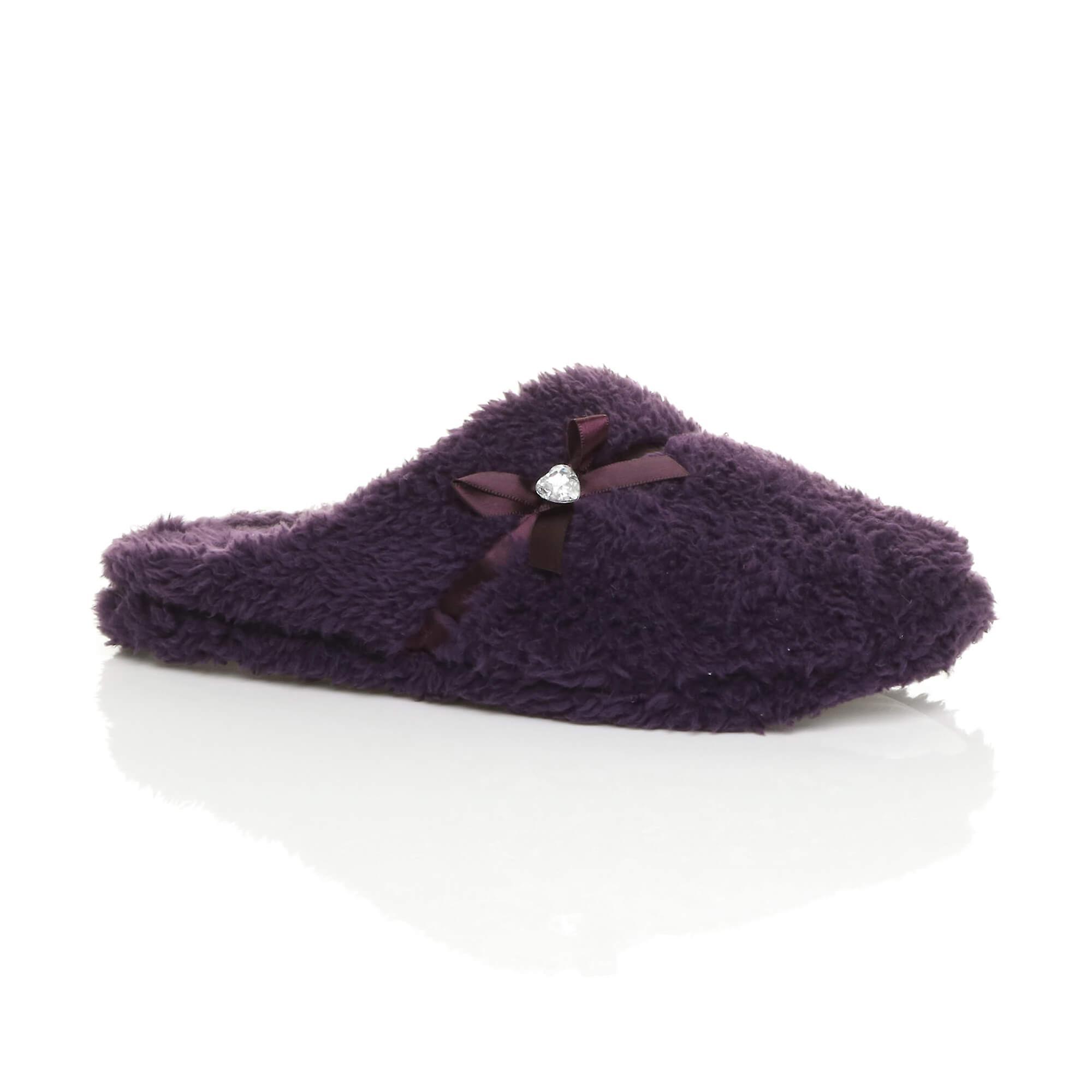 Ajvani womens bow heart gem winter fleece fur slippers slip on mules NT2dU