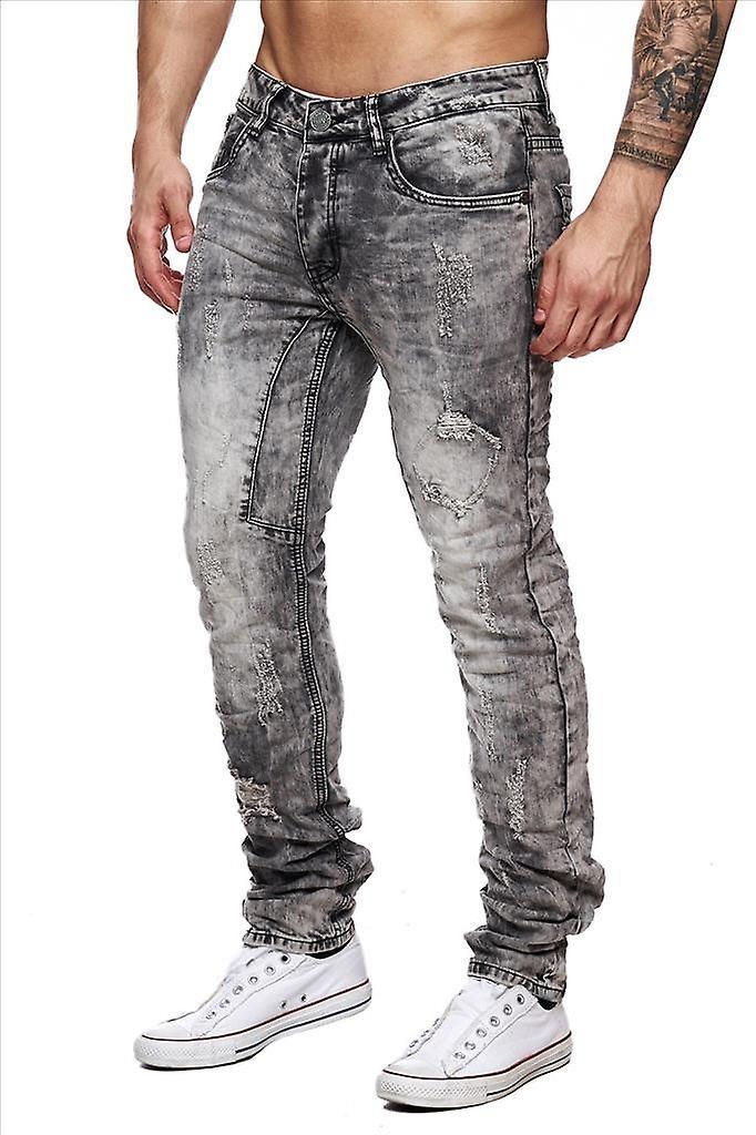Men Jeansnet denim gray destroyed Tapered Slim Fit torn vintage style