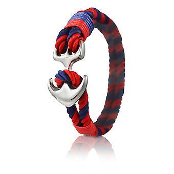 Skipper anker armbånd 22 cm nylon armbånd i rød og blå med sølv anker 7035