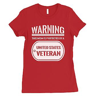 Mom Protected By Veteran Womens Red T-Shirt US Army Mom Gift Shirt