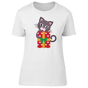 Gatto nero con una grande regalo Tee femminile-immagine di Shutterstock