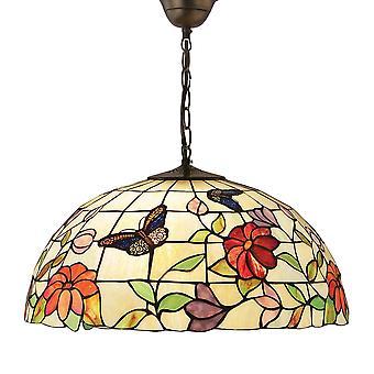Interiors 1900 Schmetterling große einzelne leichte Tiffany Deckenleuchte