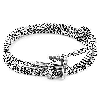 Anchor & Crew White Noir Union Anchor Silver and Rope Bracelet