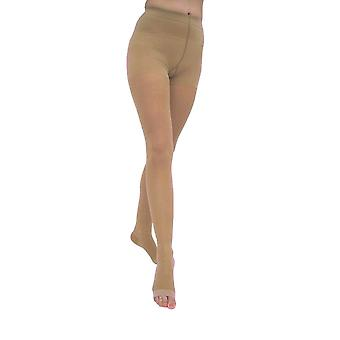 Pebble UK Signature Sheer Open Toe Compression Tights [Style P268] Silky Nude  XL