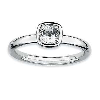 925 Sterling Silver Bezel Polished Rhodium plated Stackable Expressions Cushion Cut White Topaz Ring Jewelry Gifts for W