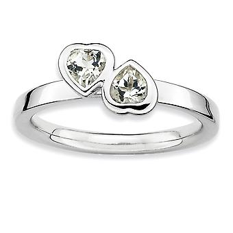 925 Sterling Silver Bezel Polished Rhodium plated Stackable Expressions White Topaz Double Love Heart Ring Jewelry Gifts