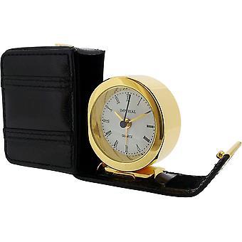 Produtos do tempo presente de couro caso despertador - preto/ouro