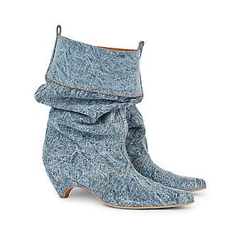 Stella McCartney de tela de mezclilla midcalf botines zapatos