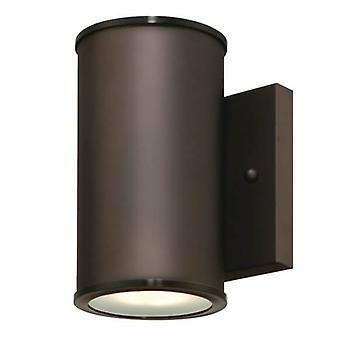 One Light Dimmable LED Outdoor Wall Fixture MAYSLICK Bronze with Frosted Glass