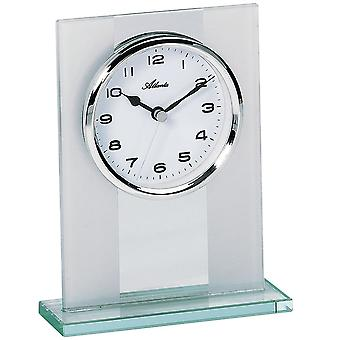 Table style watch quartz solid glass silver combined