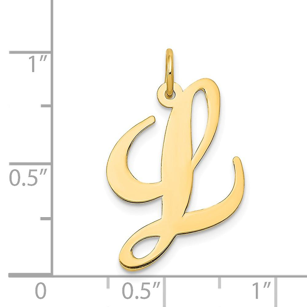 14k Yellow Gold Solid Polished Large Fancy Script Letter Name Personalized Monogram Initial  Charm Pendant Necklace Meas