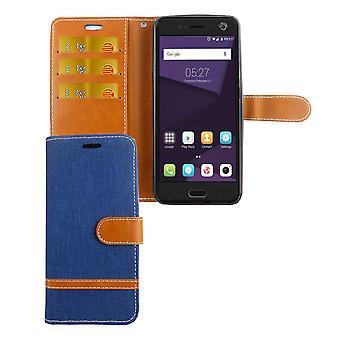 Tasche für ZTE Blade V8 Jeans Cover Handy Schutz Hülle Case Blau