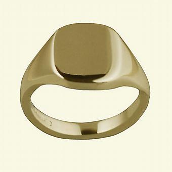 18ct goud 12x10mm solide gewoon kussen Signet Ring Size S