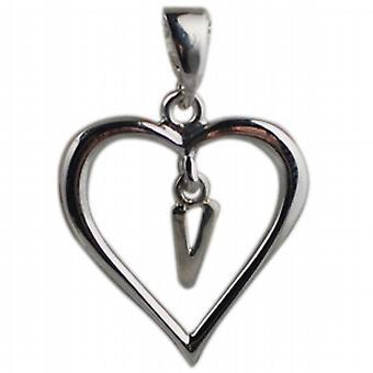 Silber Herz Anhänger mit einem hängenden Initial V