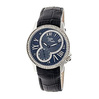 Sophie & Freda Toronto Leather-Band Ladies Watch - Silver/Black