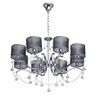Glasberg - Chrome otto Lampadario con gocce di vetro e tonalità di grigio 379019108