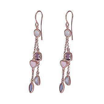 Orphelia Silver 925 örhängen Rose dubbel med mångfärgade stenar - ZO-7412