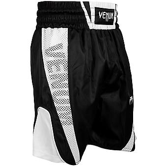 Venum Mens Elite Boxing Trunks Polyester Drawstring Shorts - أسود / أبيض