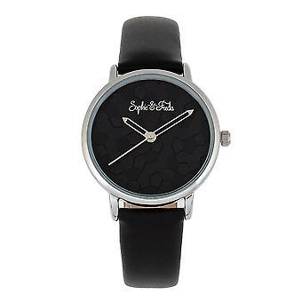 Sophie & Freda Breckenridge Leather-Band Watch - Silver/Black