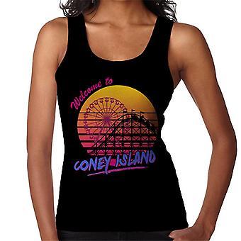 Bem-vindo a Coney Island retrô anos 80 mulheres do colete