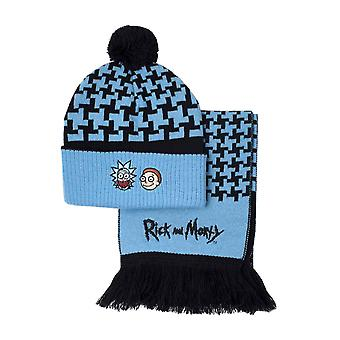 Rick and Morty Beanie and Scarf Crazy Faces Logo new Official Gift set