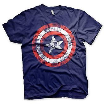 Men's Distressed Captain America Logo T-Shirt