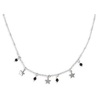 Rhodié Pampille sølv halskæde med Enamelball og stjerne 40-5cm