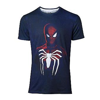 Mænds Spider-Man Acid vask blå T-shirt