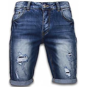 shorts - slim fit revet utseende shorts - blå