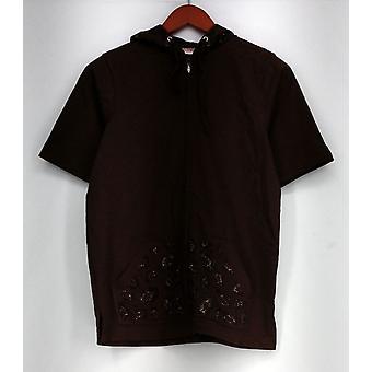 Quacker Factory Basic Jacket ShortSlve Zip-Up w/ Hood Brown A225701