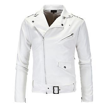Allthemen Men's Slim Fit Belt Zipper Leather Jacket