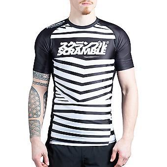 Scramble blende camo kort ermet MMA Rashguard-svart/hvit