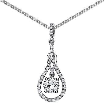 Jewelco London Rhodium Plated Sterling Silver Round Brilliant Cubic Zirconia Tear of Joy Pendant Necklace 18 inch
