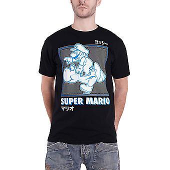 Super Mario T skjorte kjører med Yoshi nye offisielle Nintendo menns svart